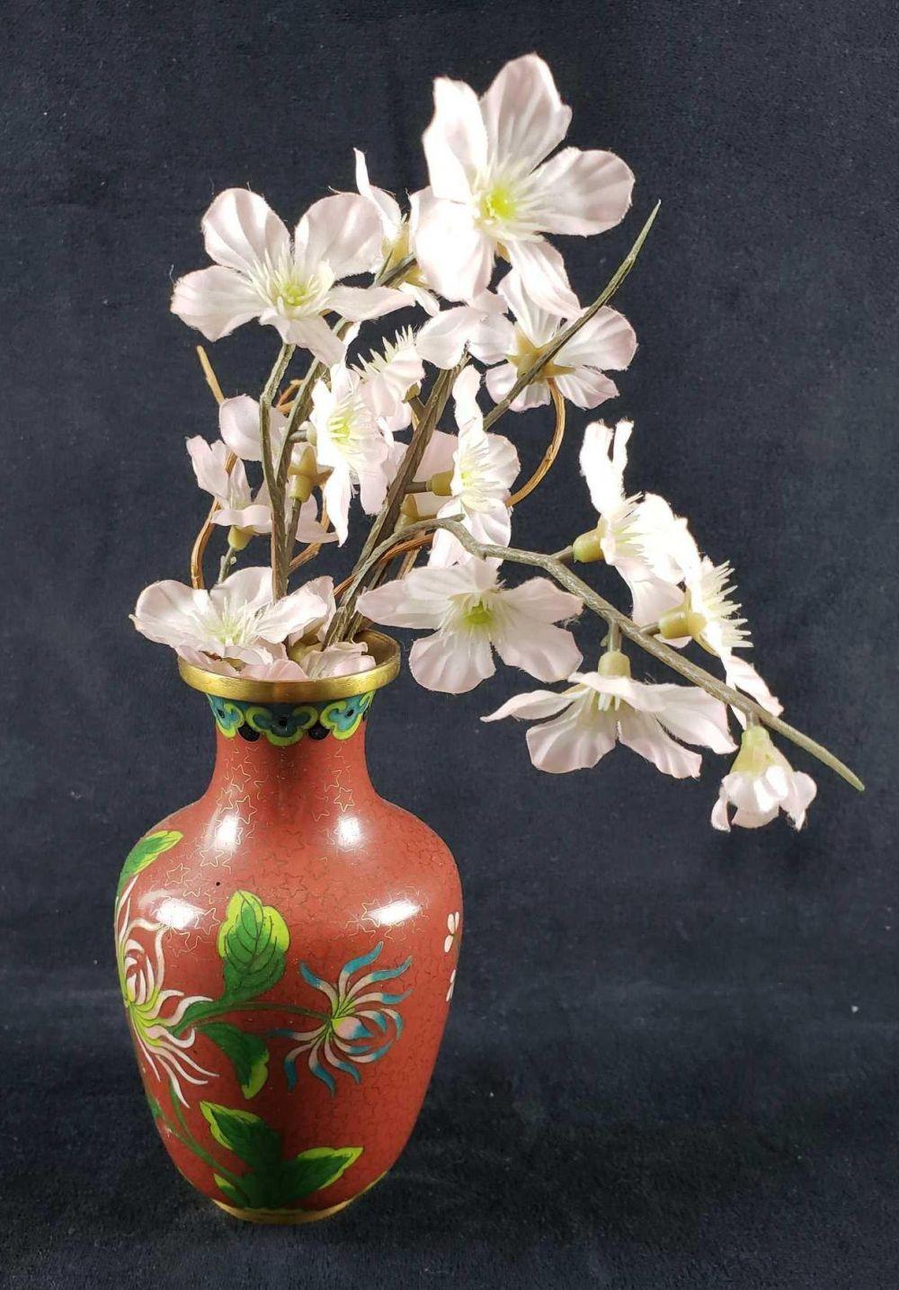 Small Asian Brass Maroon Flowered Vase