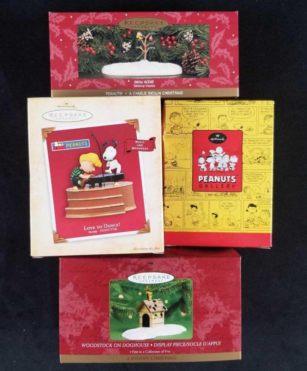Lot of 4 Snoopy and Peanuts Collectible Ornaments Set B