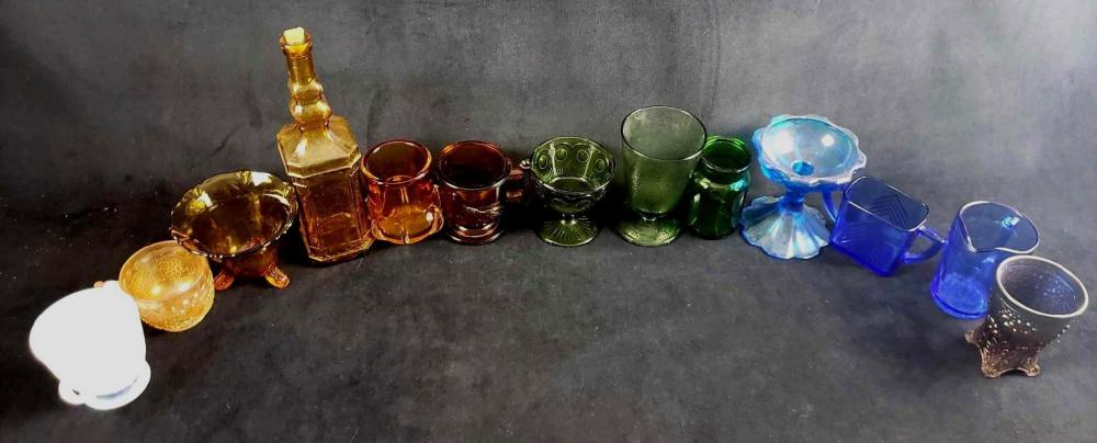 Rainbow Vintage Colored Glass Collection of 13 Items
