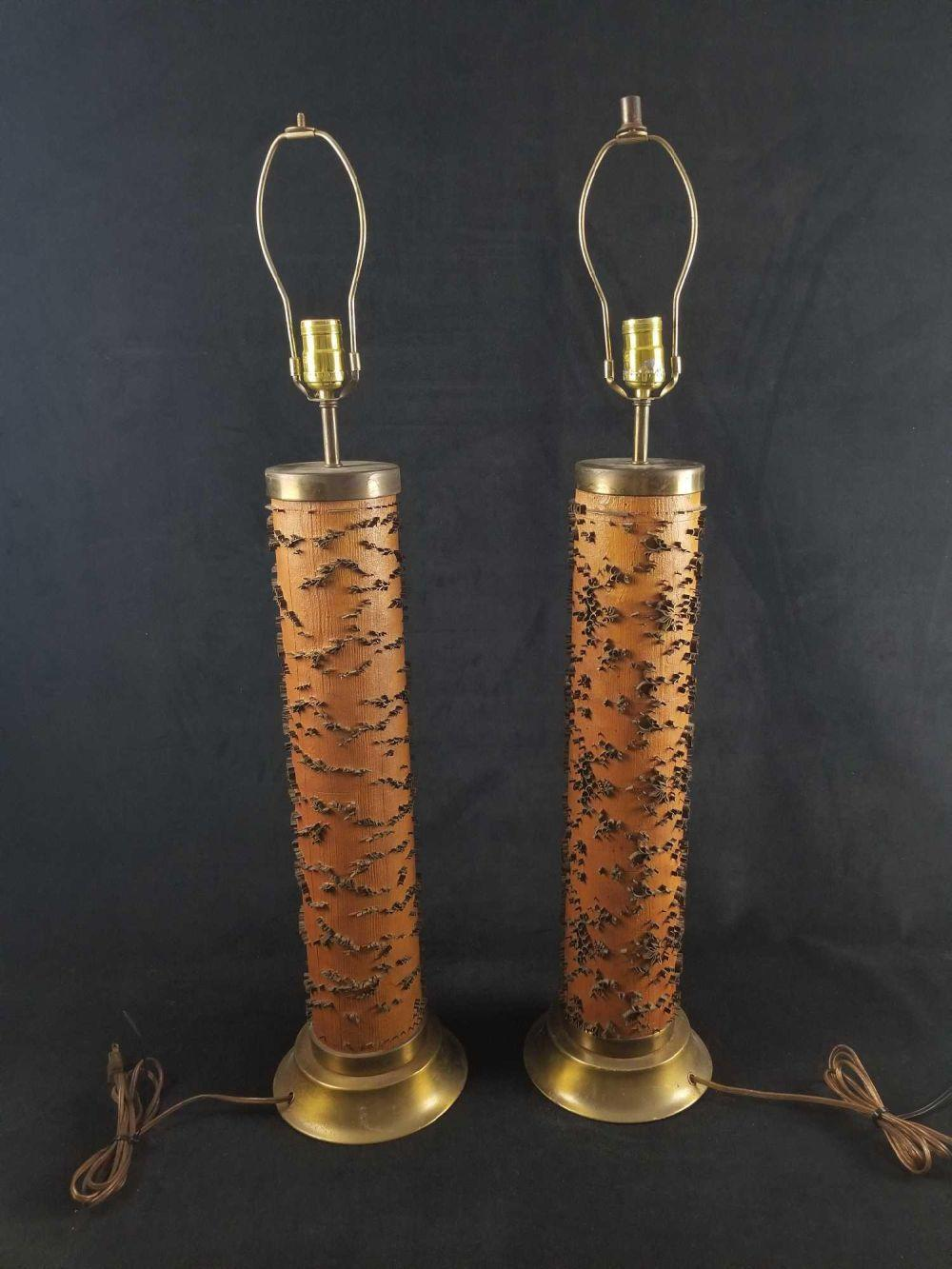 Pair of Mid Century Modern Print Roll Table Lamps