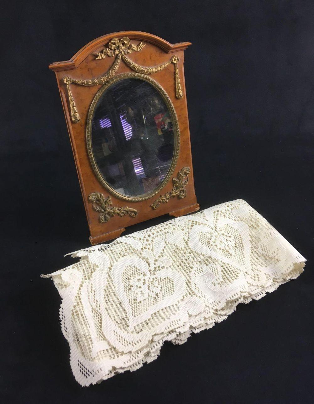 Antique Dressing Table Mirror and Lace Table Runner