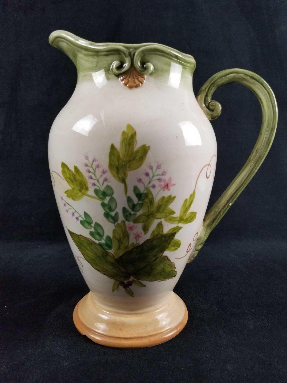 Large Ceramic Pitcher with Floral Design