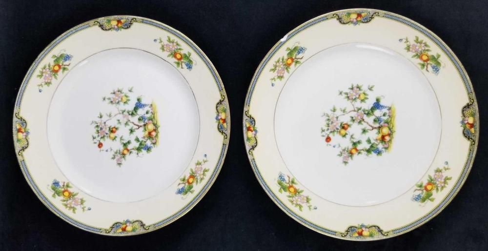 Set of 2 Noritake Japan Plates with Apples and Flowers Design