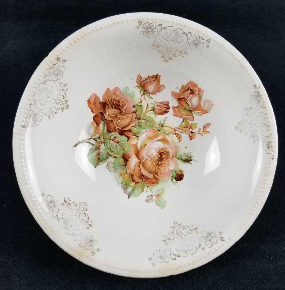 Late 1800s Ceramic Porcelain Bowl with Rose Design