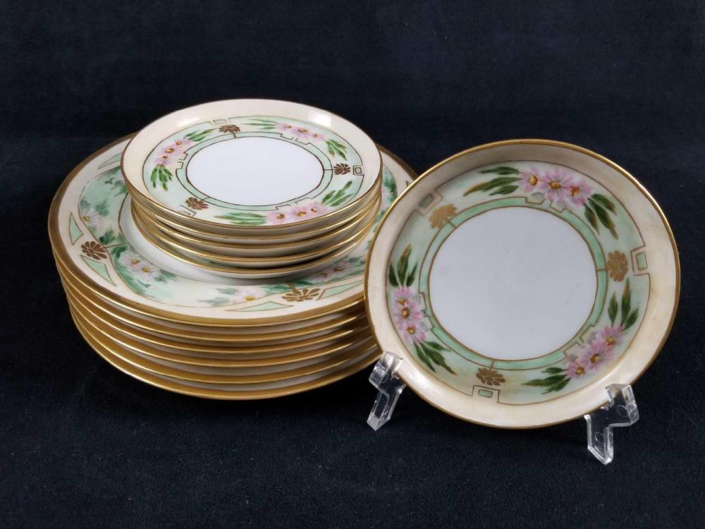 Set of 12 Hand Painted Sweet Vintage Floral Design Porcelain Plates by Limoges France and Bavaria Favorite
