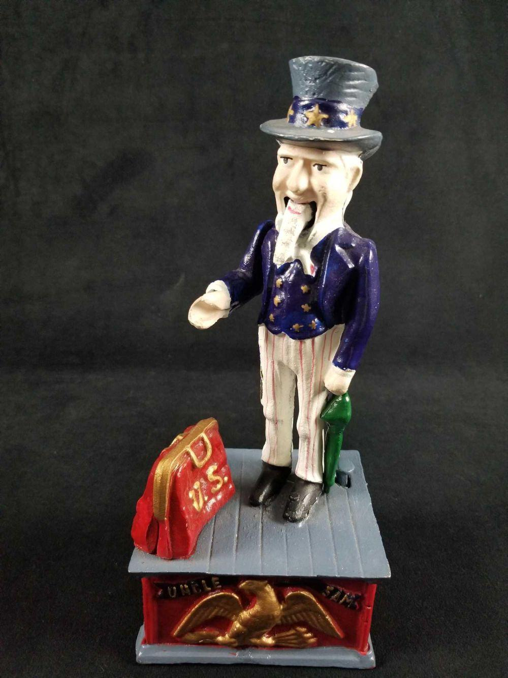 Cast Iron Uncle Sam Mechanical Coin Bank