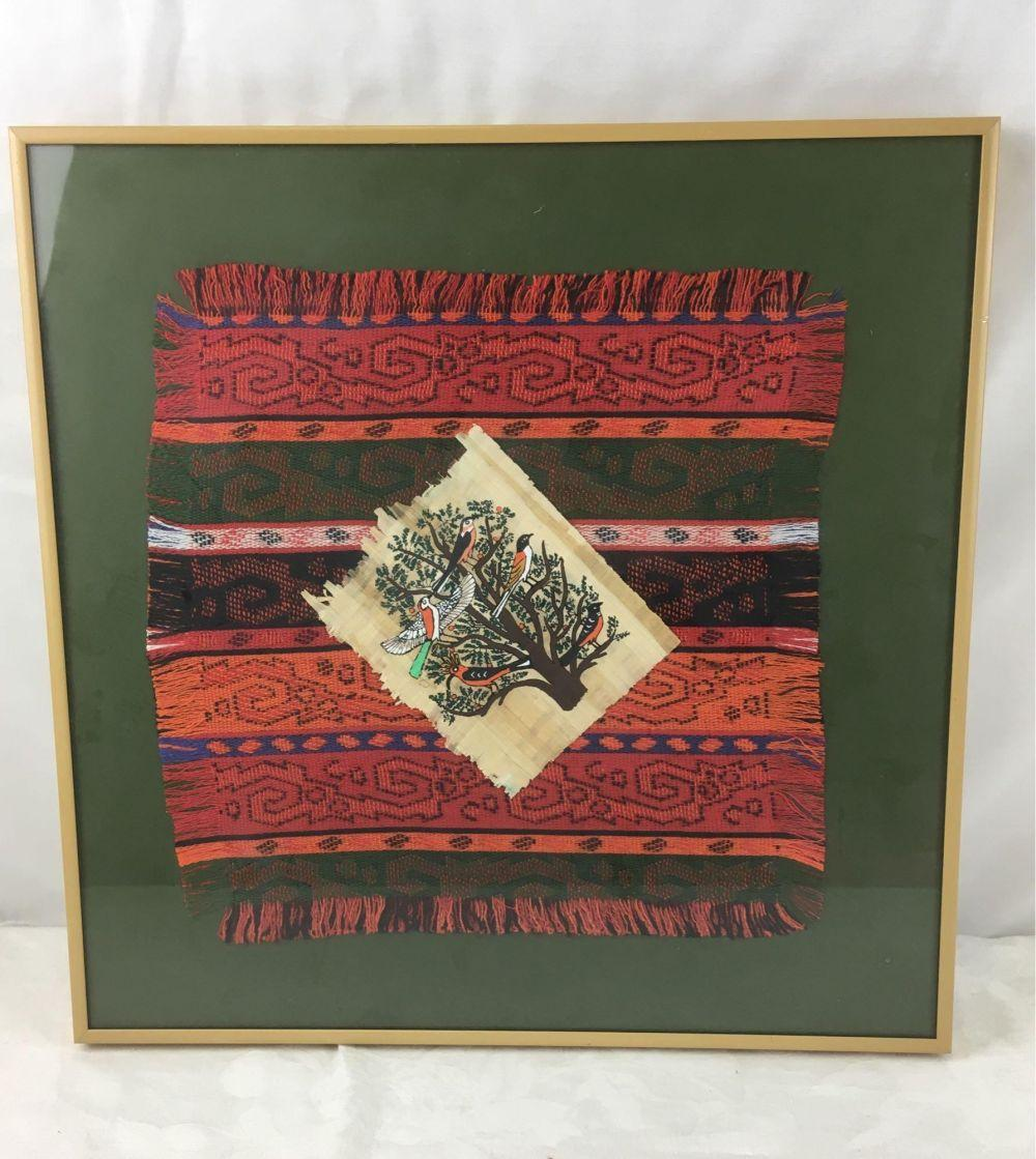 Framed Hand-painted Papyrus on Woven Cloth