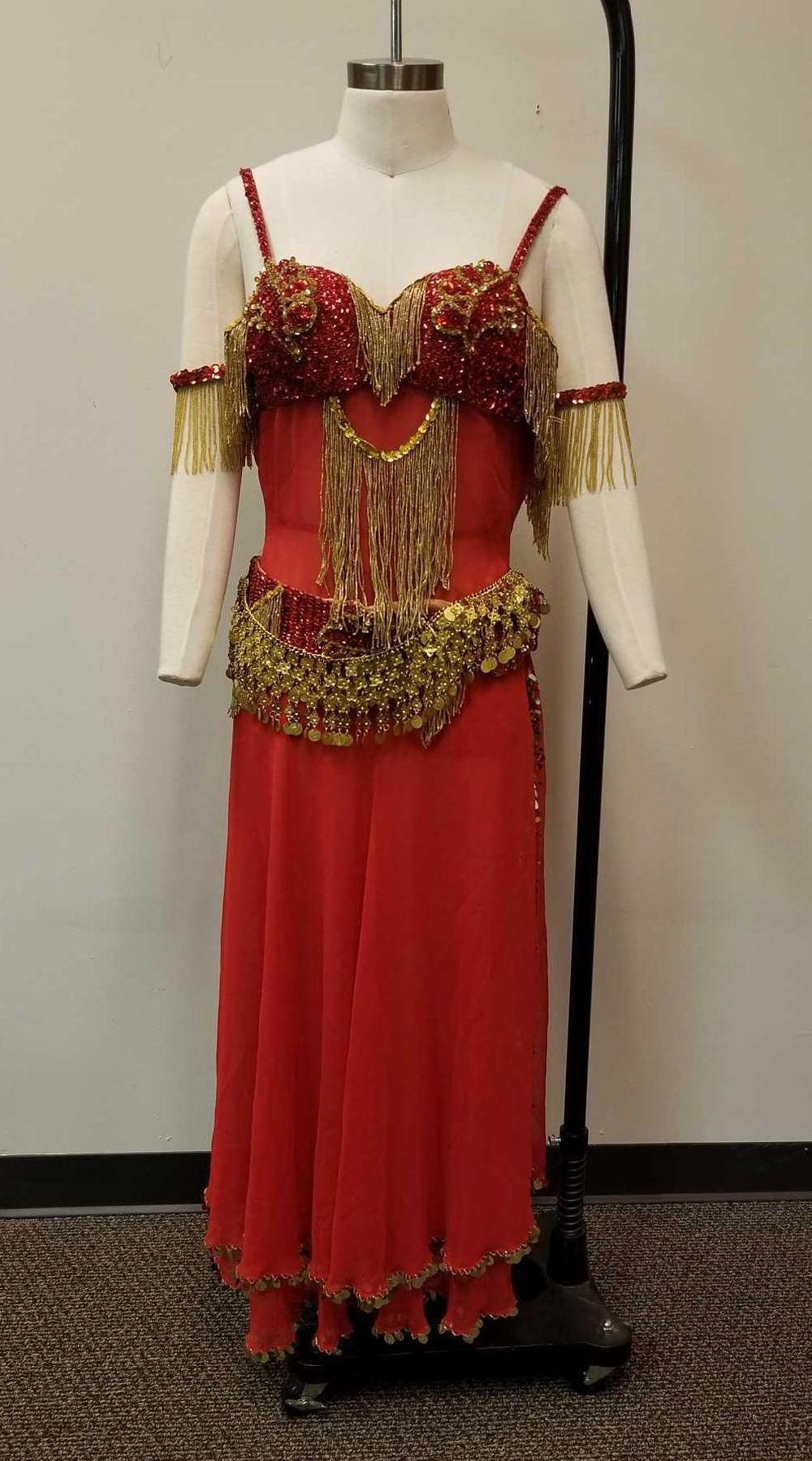 Red Beaded Belly Dancing Complete Outfit Costume