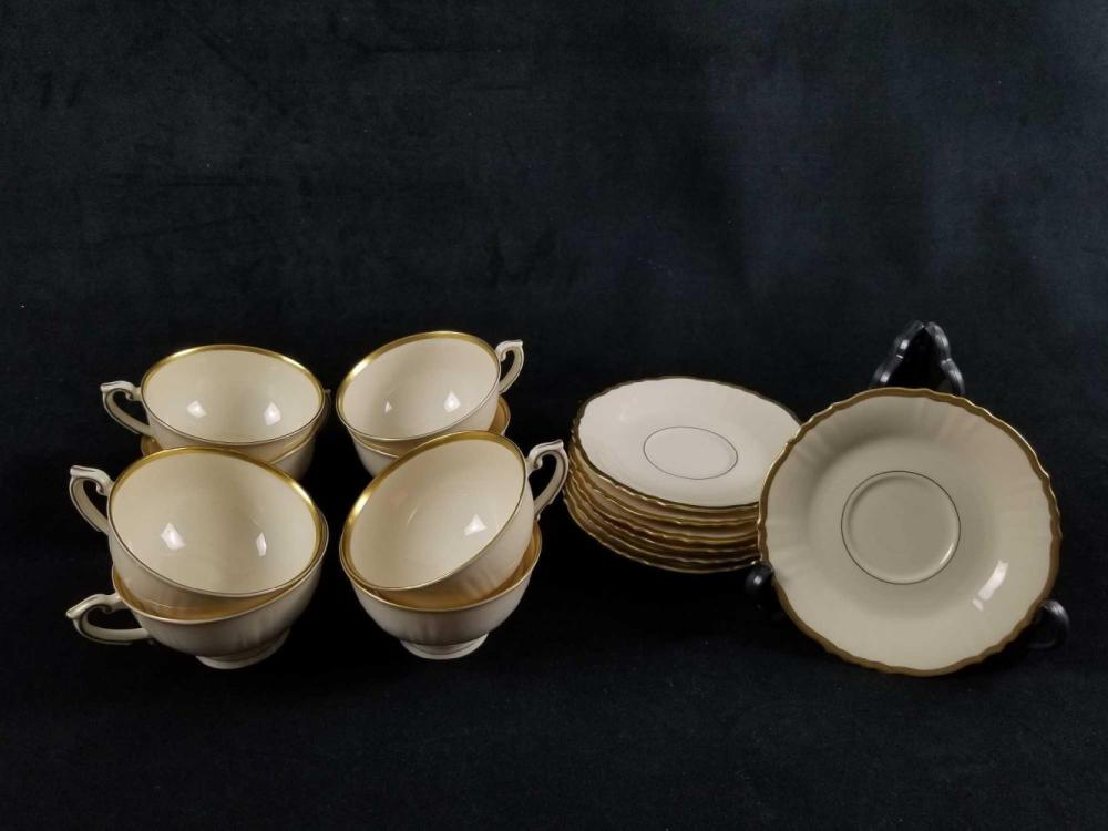 Cream And Gold Old Ivory China Teacup And Saucer Lot of 15