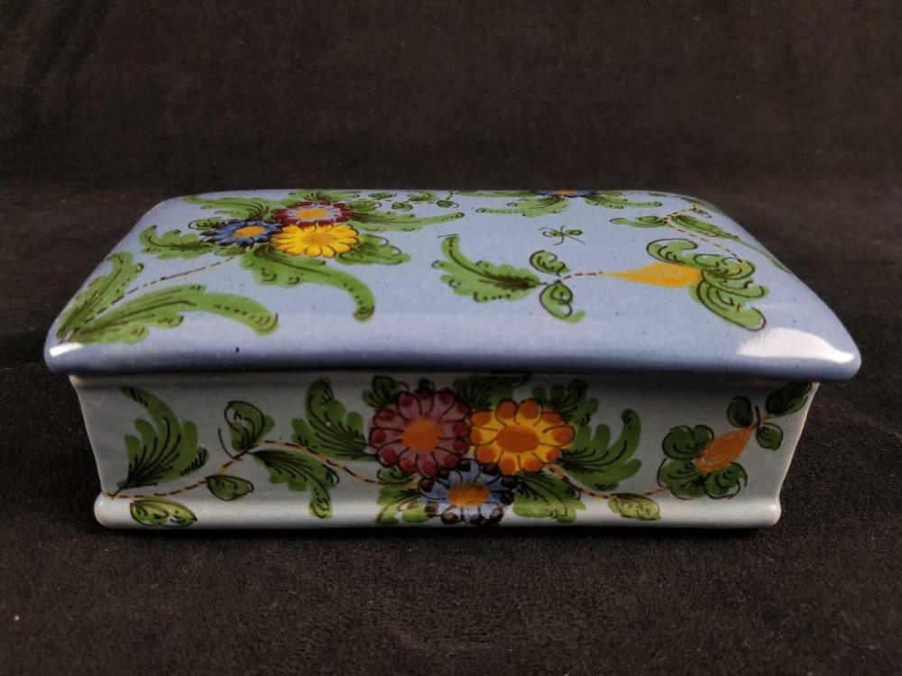 Ceramic Flower Trinket Box with Lid by CAB Italy