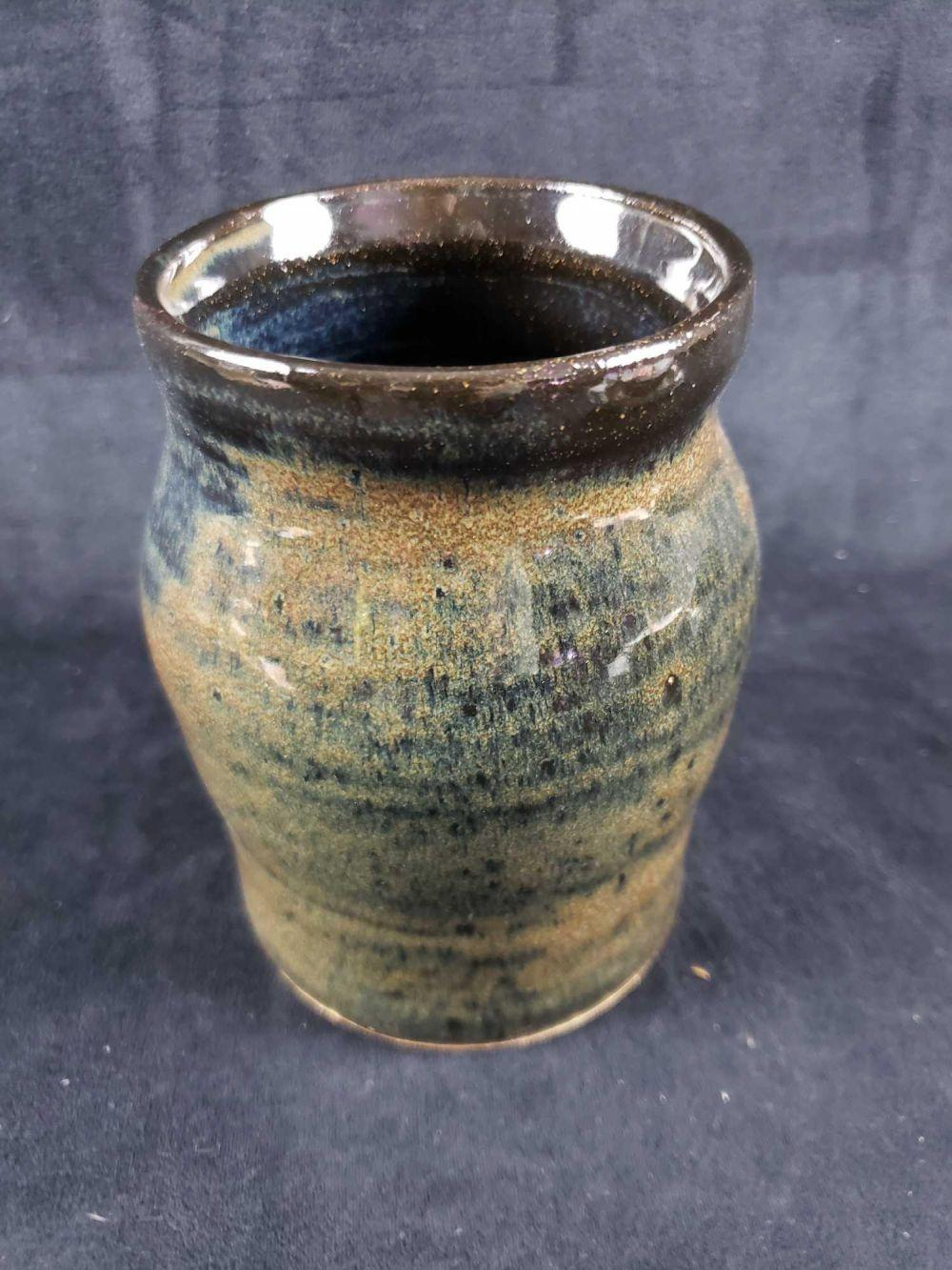 Blue and Brown Pottery Vase Signed