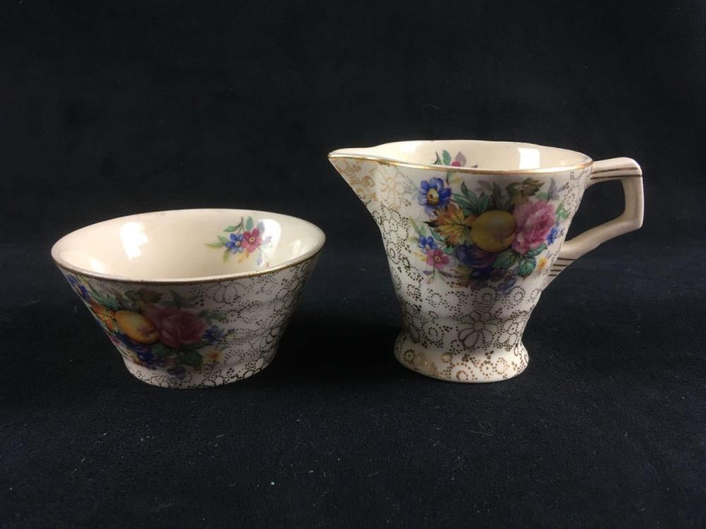 Vintage English H and K TunstallFine Porcelain Creamer and Open Sugar Bowl