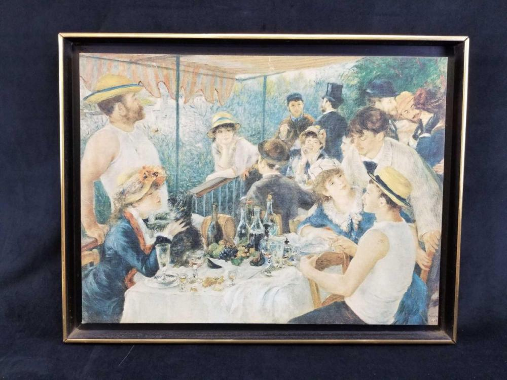 The Luncheon of the Boating Parting Framed Canvas Print by Renoir