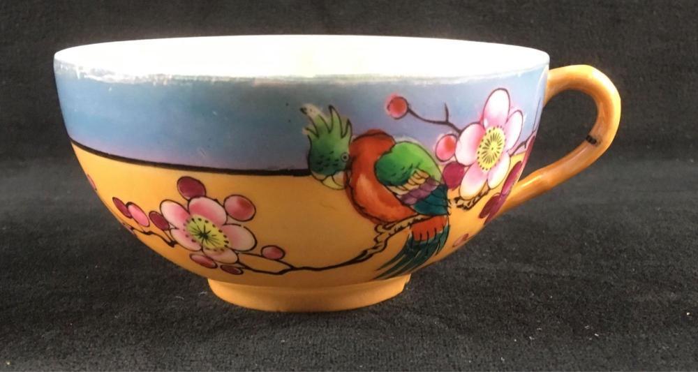 Vintage Iridescent Tropical Parrot Tea Cup