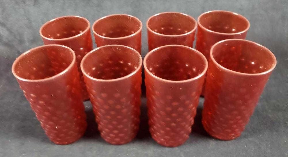 Set of 8 Vintage Ruby Red Bump Glasses
