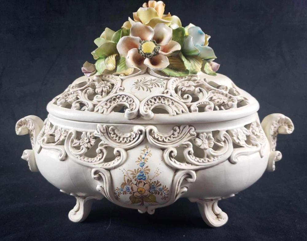 Vintage Italian Ardalt Decorative Footed Tureen