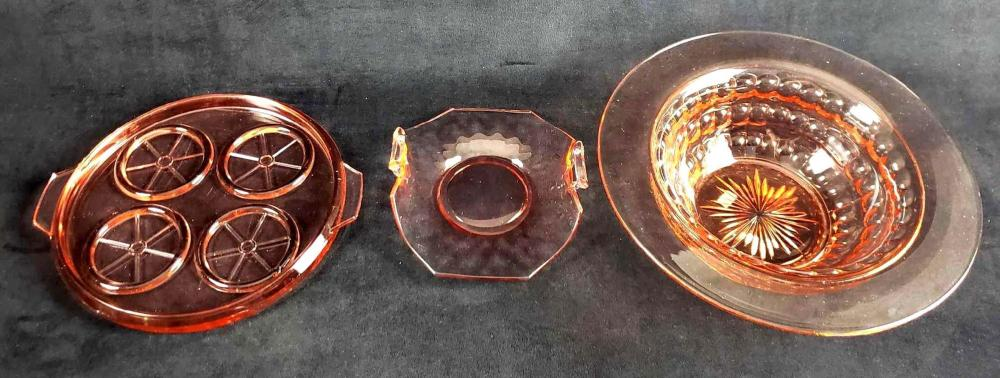 Lot of Three Pink Depression Glass Dishes