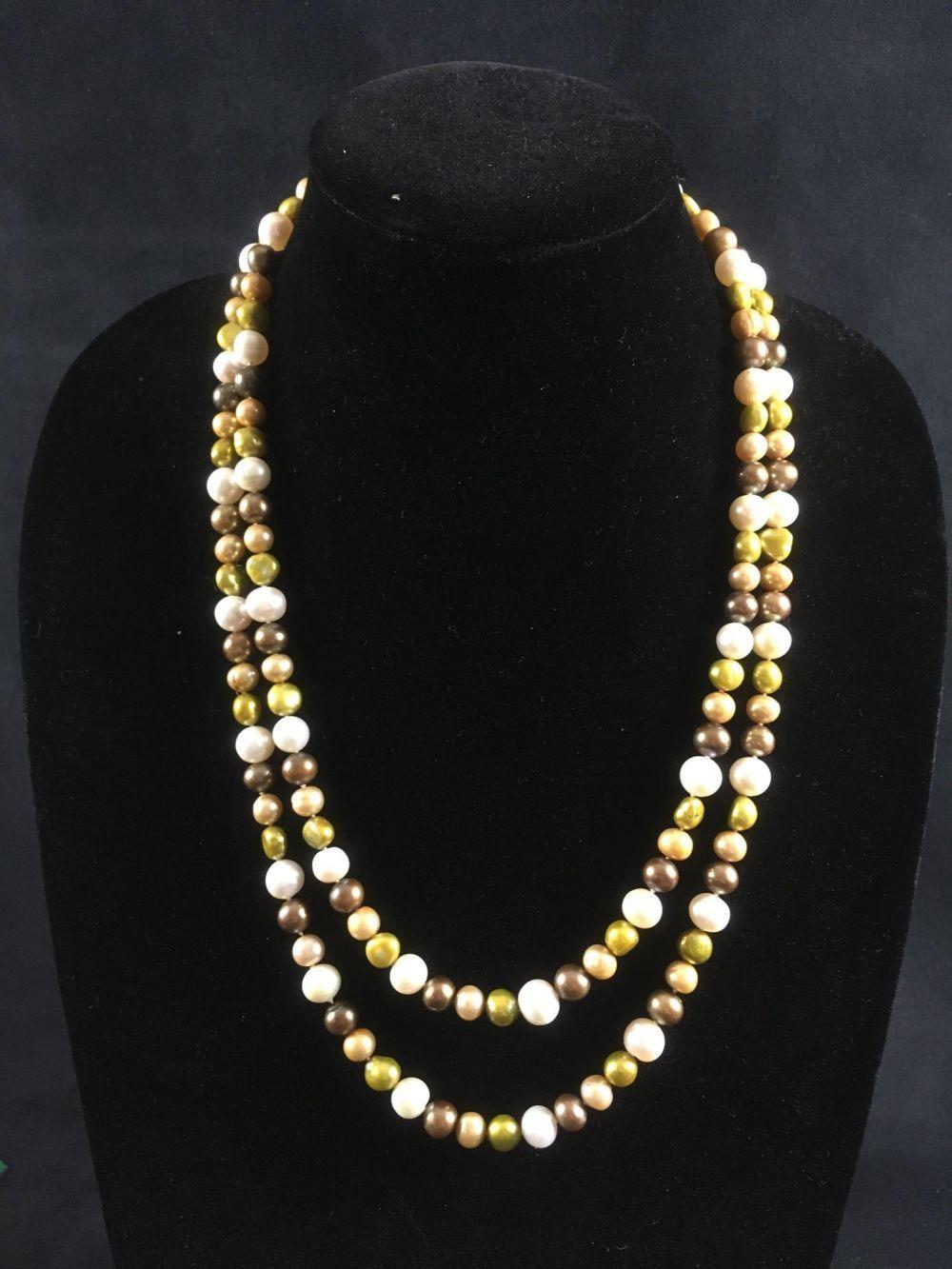 Vintage Multicolored Single Strand Pearl Necklace