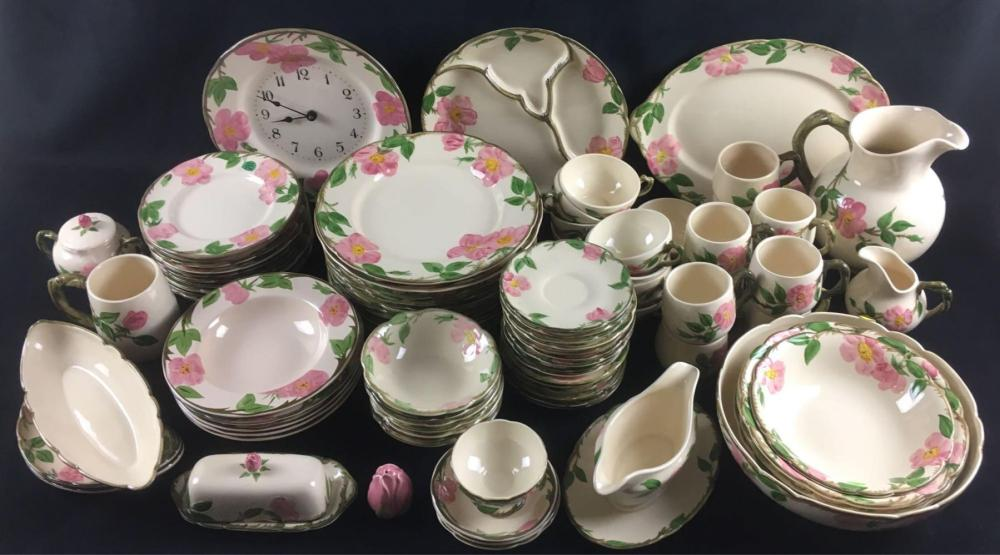 Large Collection of Franciscan Dinnerware 93 Pieces Desert Rose Pattern