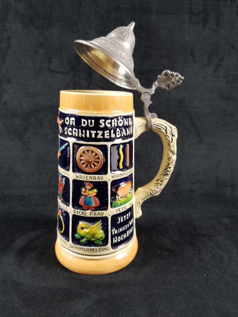 Oh Du Schone Scnitzelbank German Beer Stein