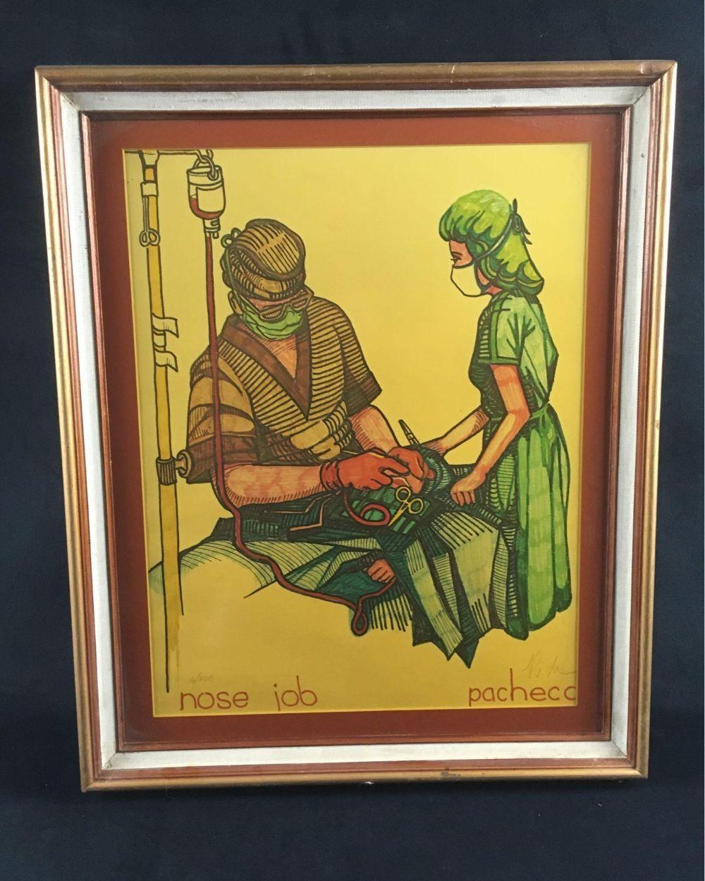 Numbered and Signed Lithograph Print, Nose Jobby The Fight Doctor Ferdie Pacheco