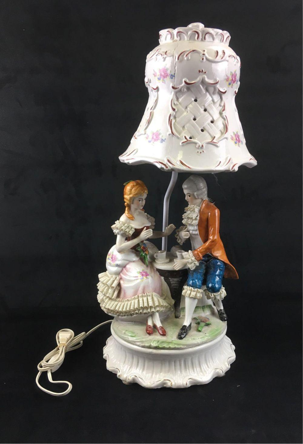 French Capodimonte Style Porcelain Lamp