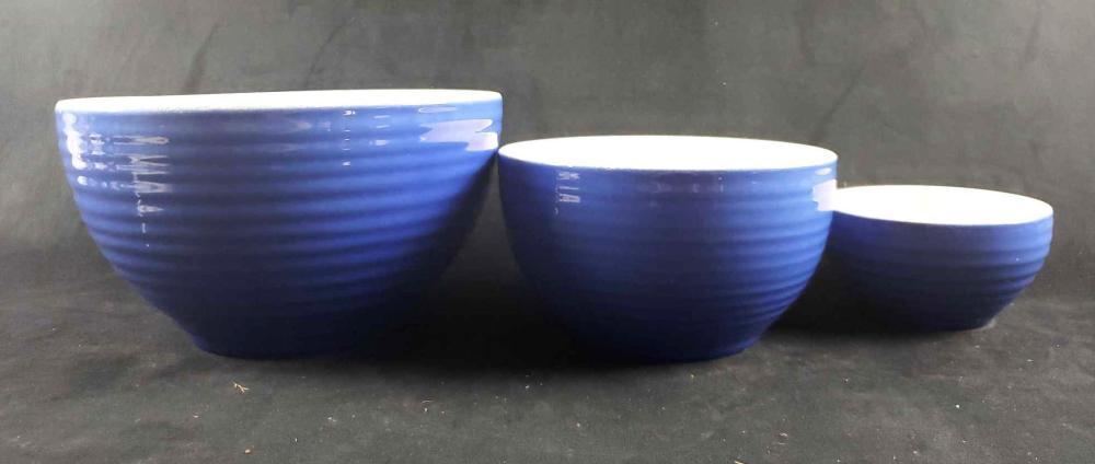 Set of 3 Blue Emile Henry Mixing Bowls