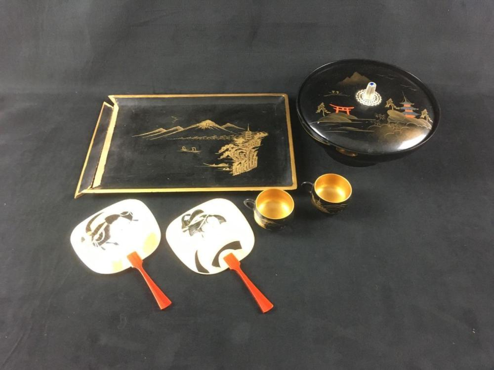 Vintage 5 Piece Lacquer ware Style Serving Set with 2 Hand Fans