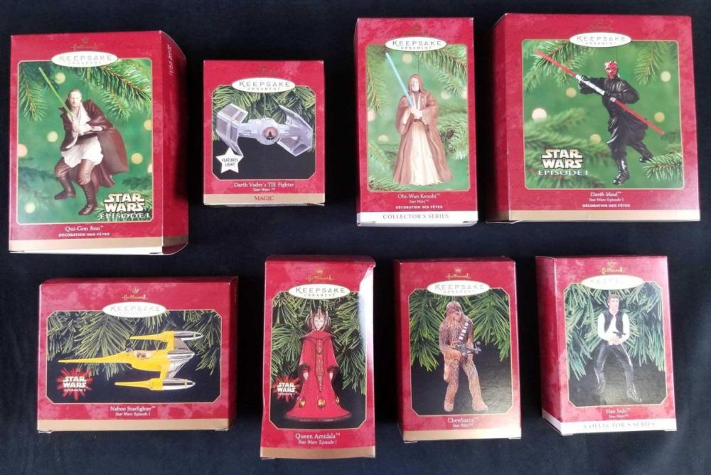 Lot of 8 Hallmark Star Wars Collectible Ornaments