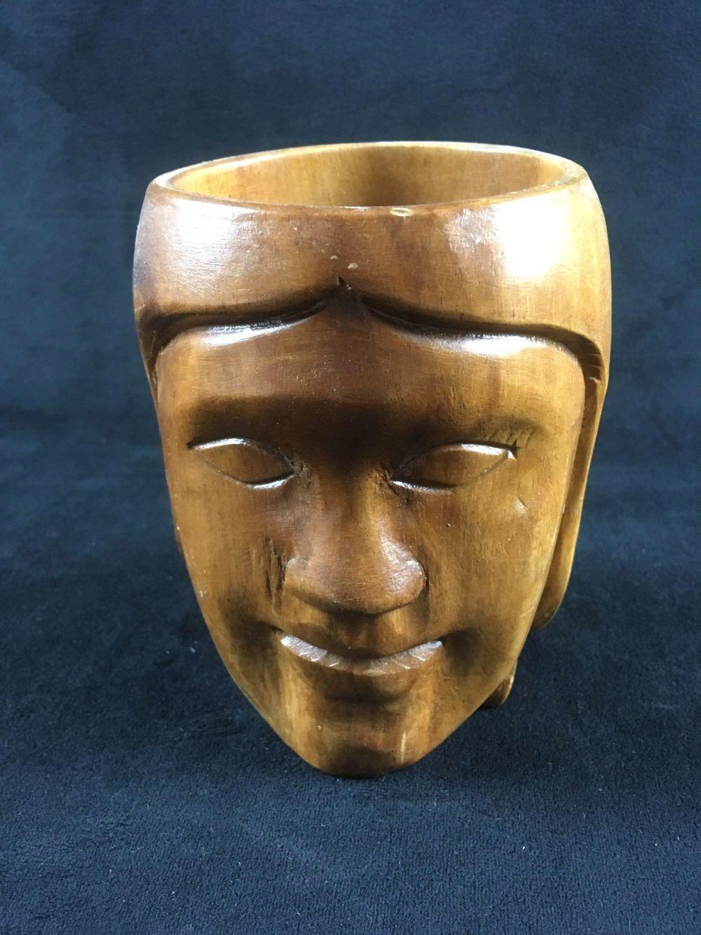 Vintage Wooden Hand Carved Monkey Pod Face Mug