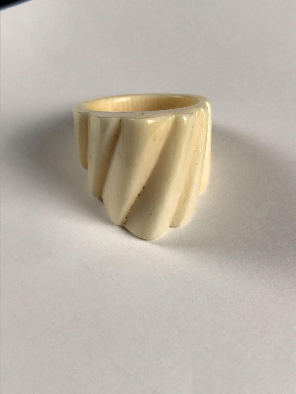 Vintage Carved Bone Ring