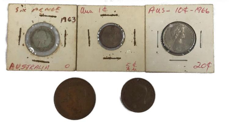5 Vintage Australia Currency Coin