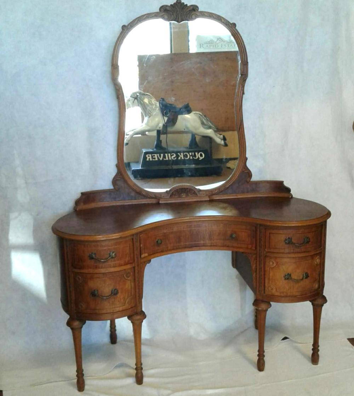 Antique Victorian Walnut Vanity Dresser With Mirror Top