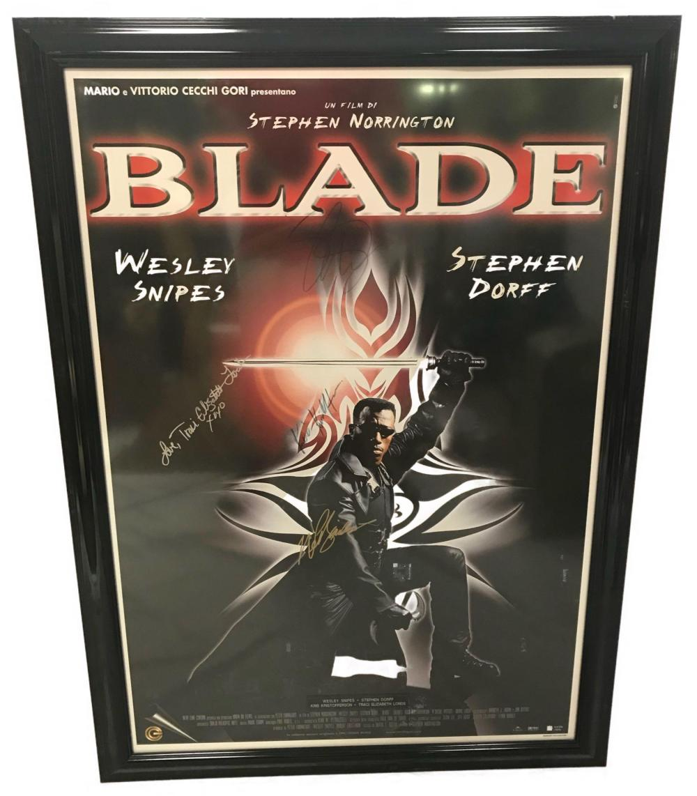 Collectible Movie Poster Blade Signed By Cast Including We