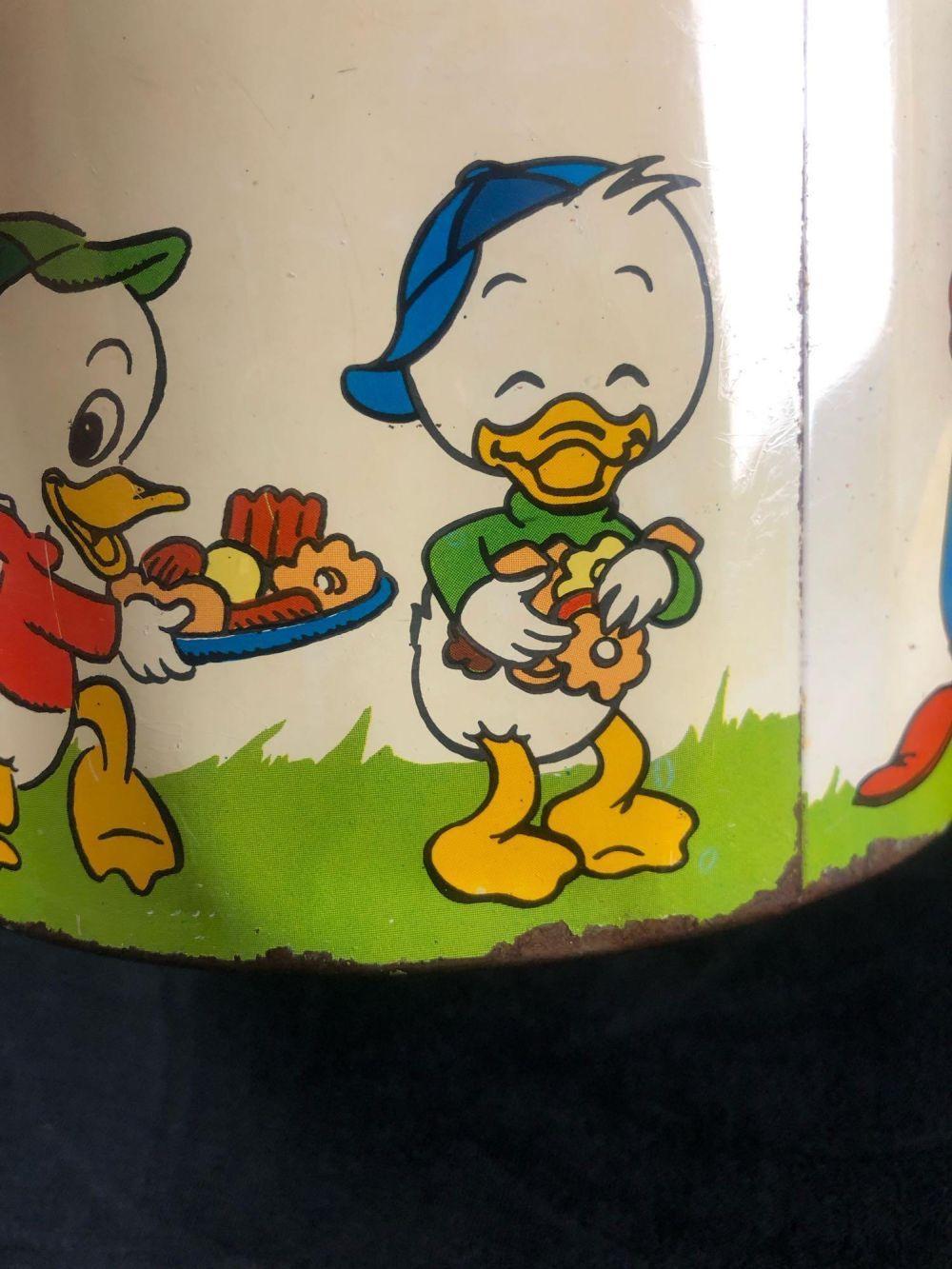 Walt Disney Cookie Jar vtg Cheinco J Chein co metal can lid Mickey Goofy Donald