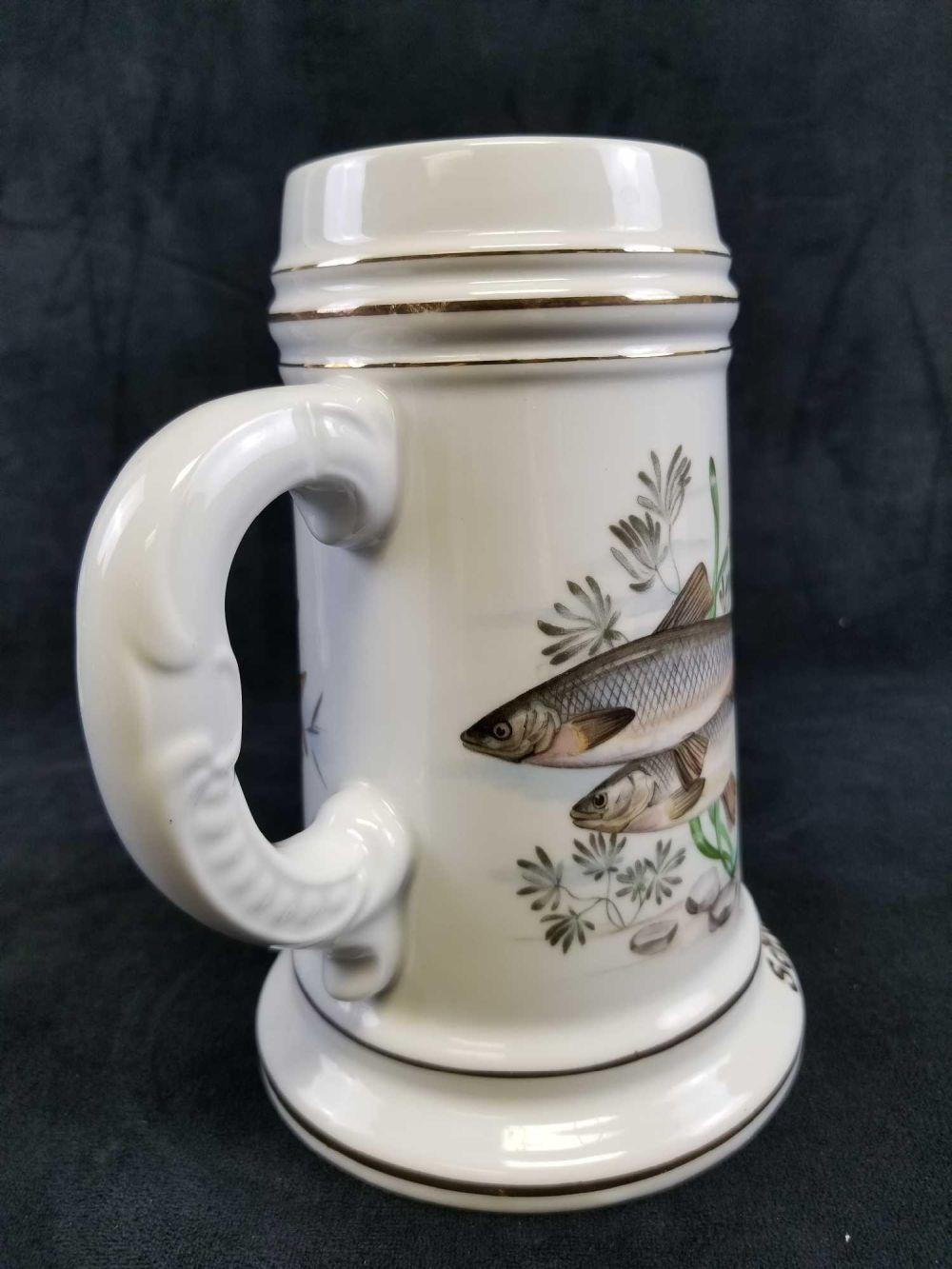 German Porcelain Lithophane Beer Stein with Hand Painted Hering