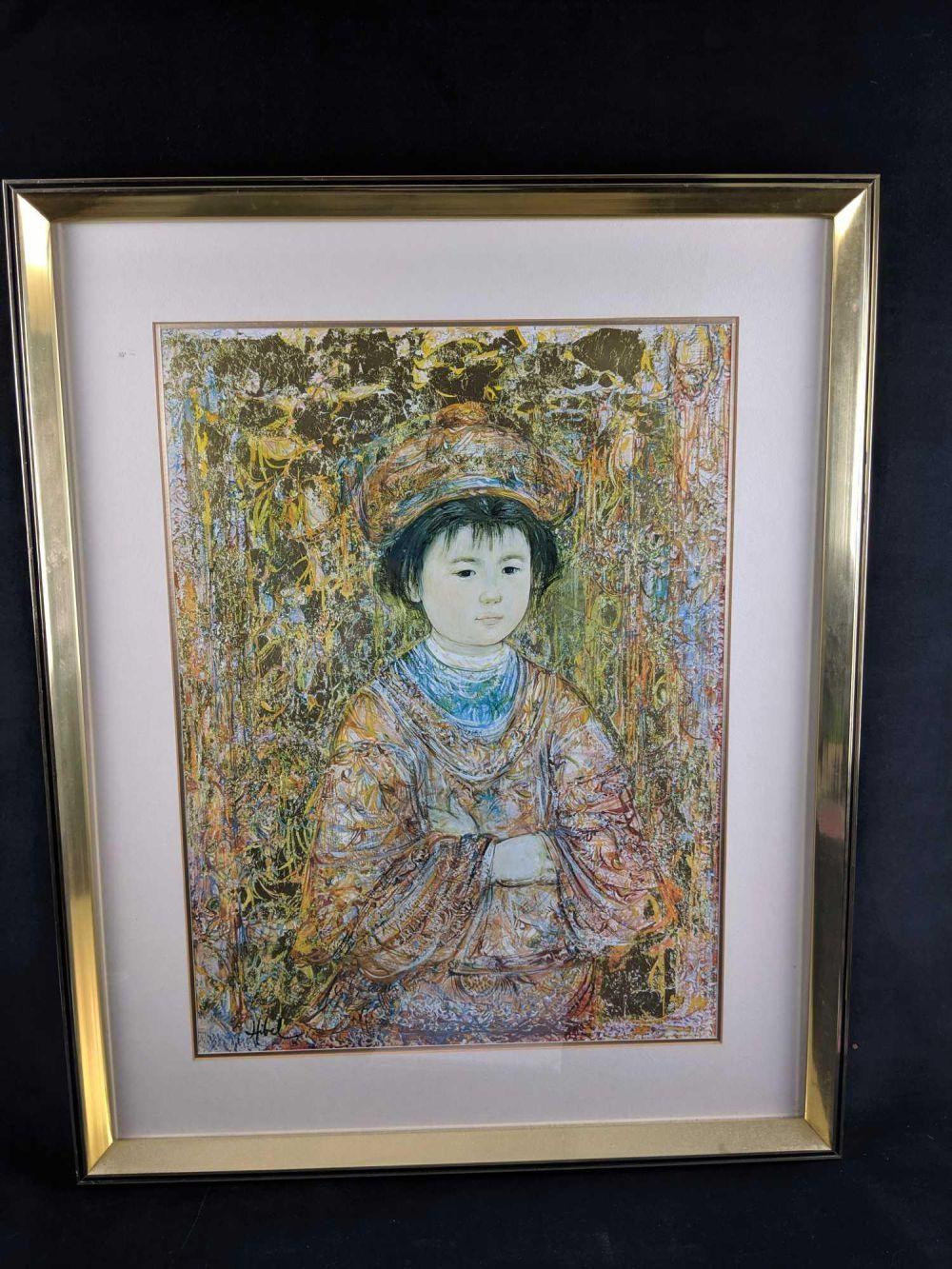 Lot 102: Sold Out Michio by Edna Hibel Exclusive Framed Print Edition of 1000