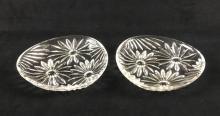 Lot 116: Two Daisy Pattern Triangular Cut Glass Plates