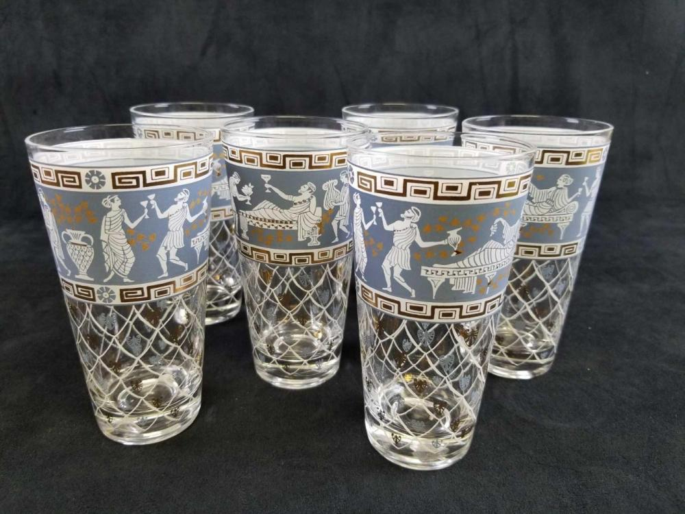 Set of 6 Greek Revival Wedgewood Blue And Gold HighBall Glasses by Cera