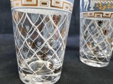 Lot 12: Set of 6 Greek Revival Wedgewood Blue And Gold HighBall Glasses by Cera