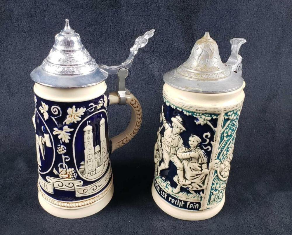 Lot 123: Set of Two Mini Cobalt Blue Beer Steins