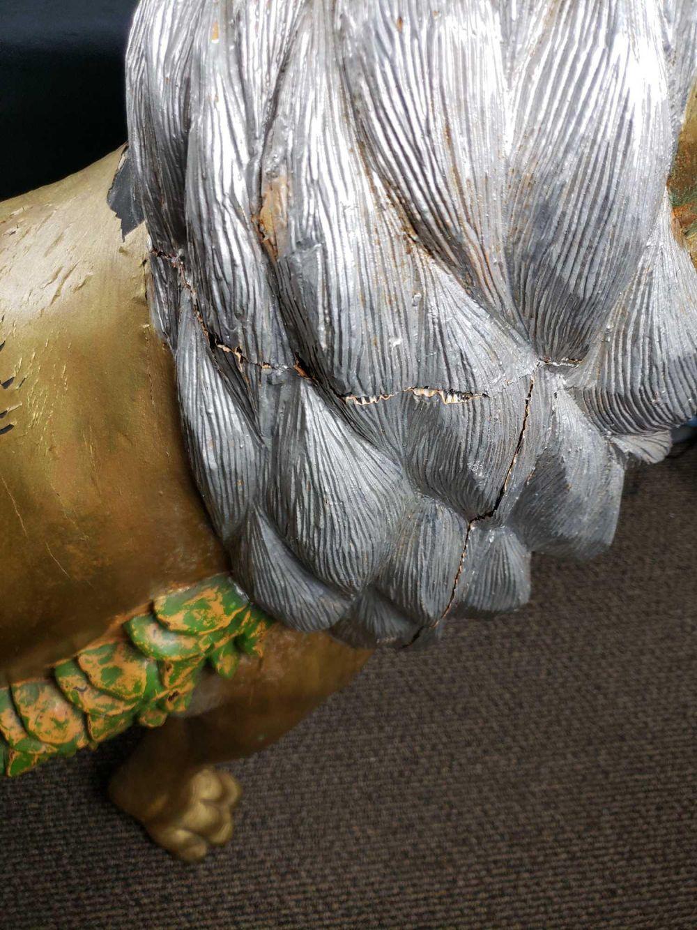 Lot 135: Hand Carved Gold Leaf European Carousel Lion