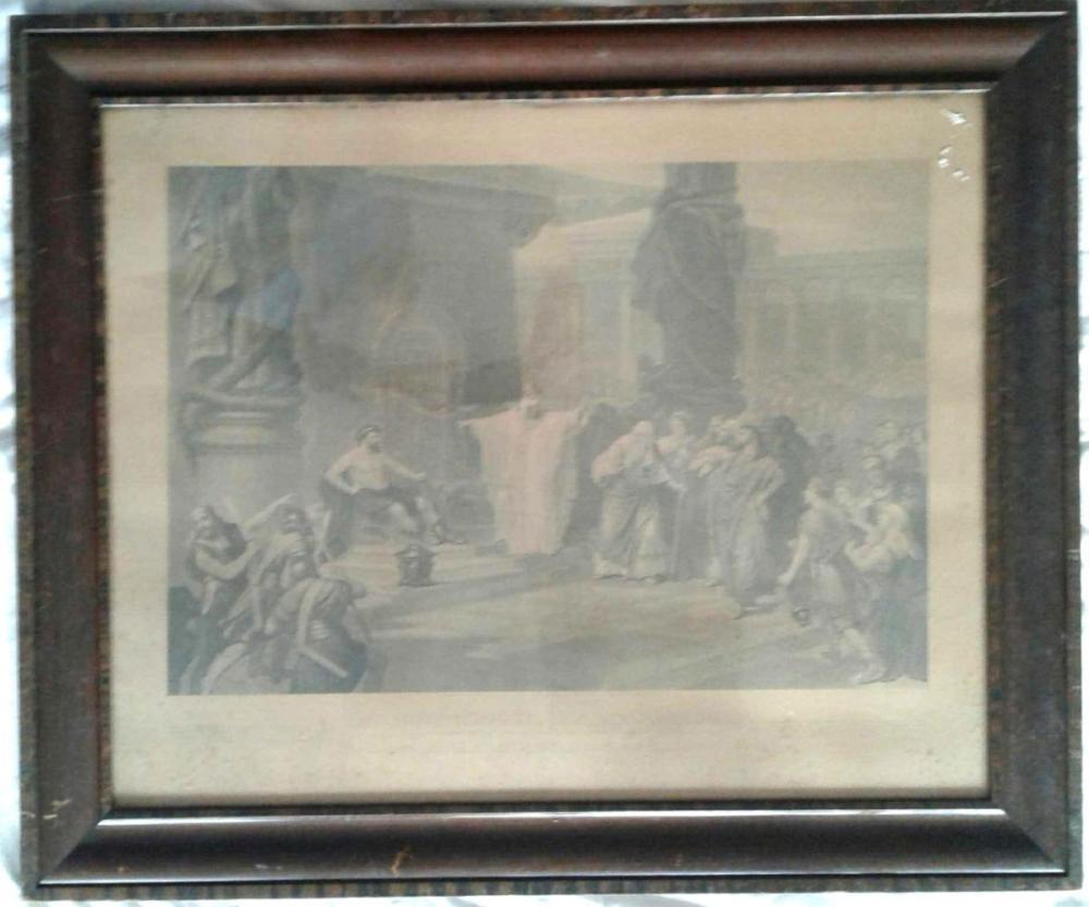 Lot 14: Antique Iron Worker Print, Original Flame Oak Frame