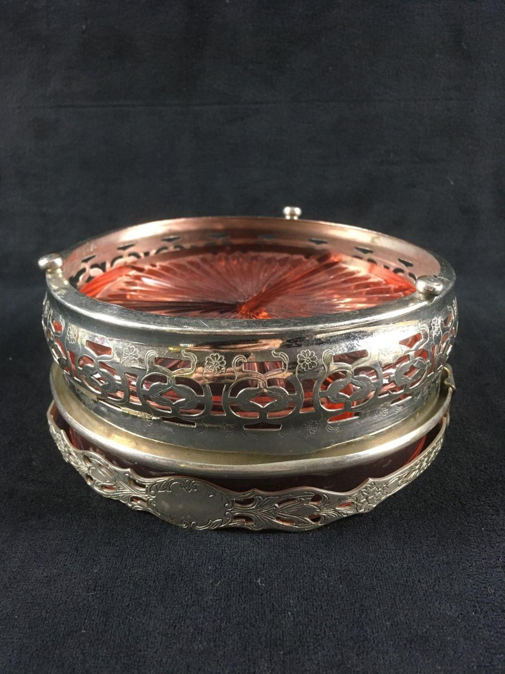 Lot 143: Vintage Pink Depression Glass Divided Condiment Dish in Plated Caddy
