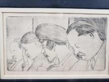 Lot 146: People Sleeping Framed Etching