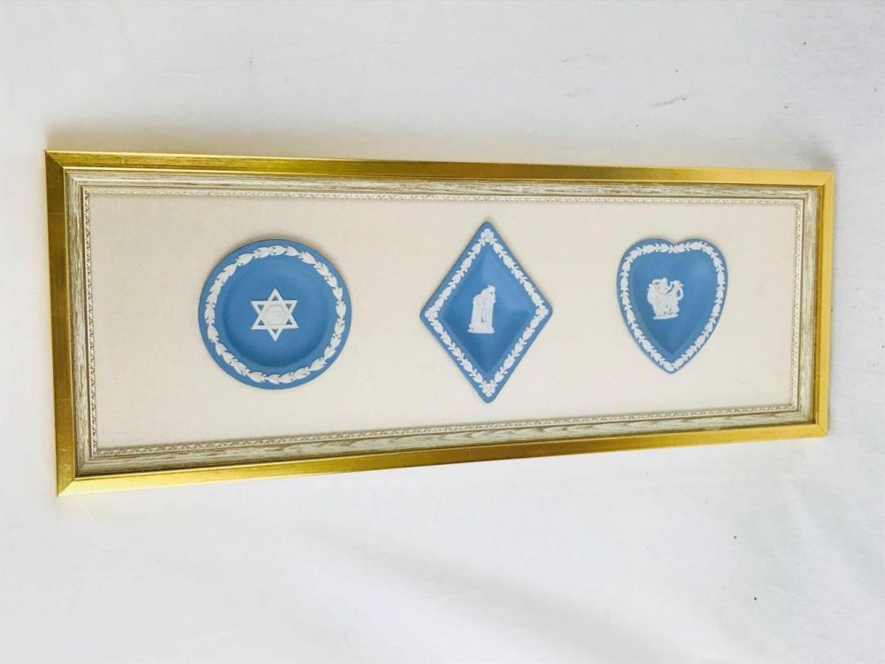 Lot 159: Vintage Wedgewood Blue Jasperware, 3 Dishes/Small Trays