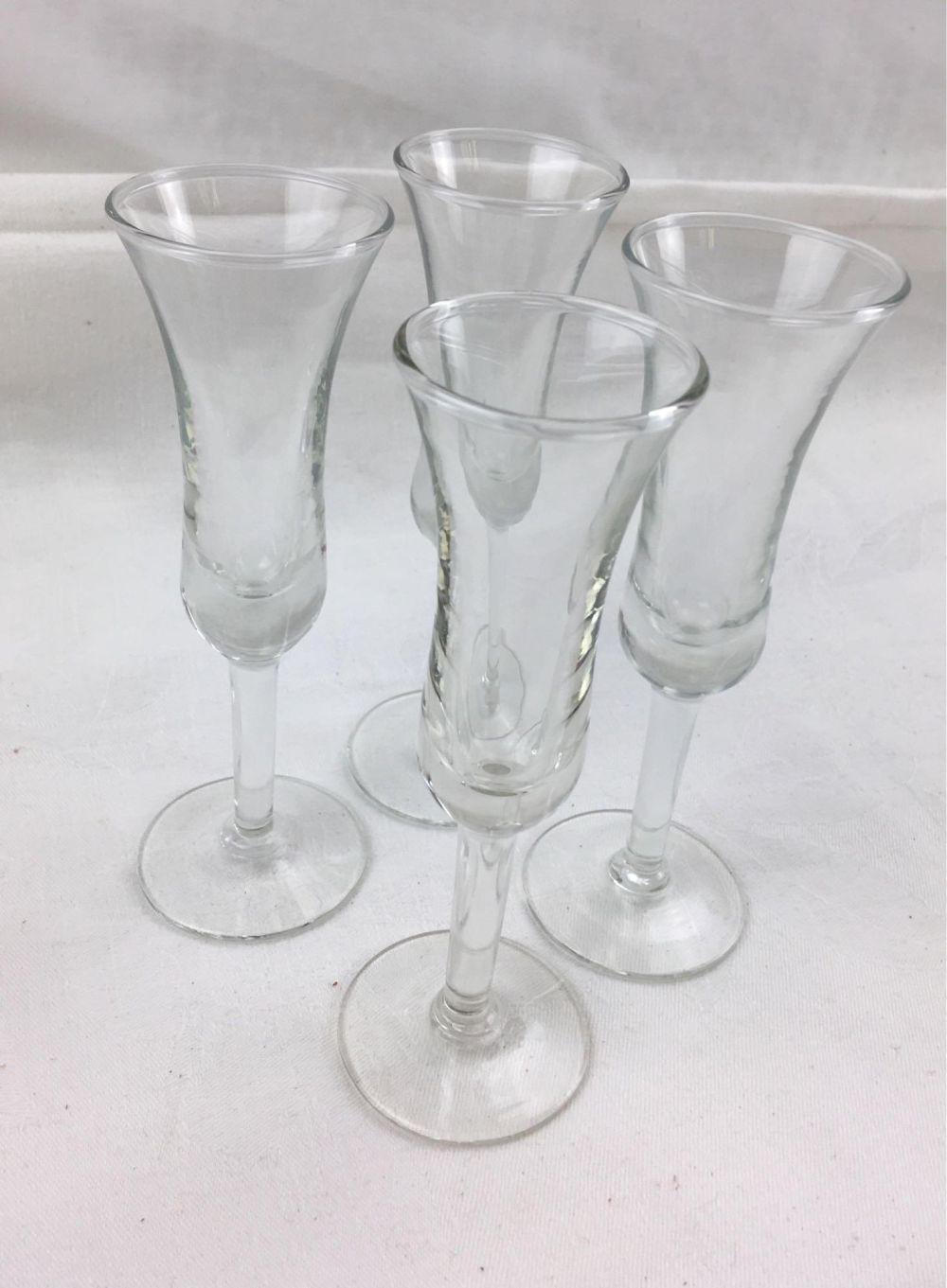 Lot 160: Set of 4 Stemmed Cordial/Sherry Glasses, by Libby