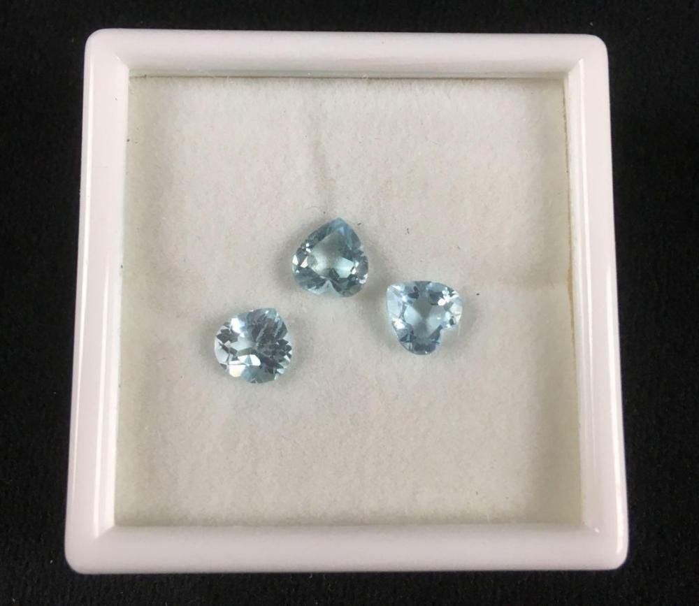 Lot 164: 3 Loose Natural Heart Shape Blue Topaz Gem Stones