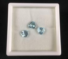 Lot 164: 3 Loose Natural Heart Shape Blue Topaz Gem Stones