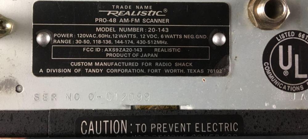 Lot 167: Vintage Realistic Patrolman Scanner Receiver Pro-48